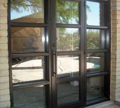 Steel Door with Sidelights Steel Windows, Steel Doors, Windows And Doors, Outside Patio, Closed Doors, House Design, Home, Courtyards, Architecture Illustrations