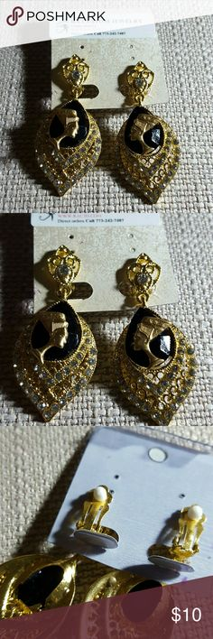 Nefertiti Black/Gold clip on earrings Nefertiti black stone with tiny rhinestones  clip-on earrings. (Goldtone metal with ear pads for comfort).  Comes with Ancient Egyptian aspired Refrigerator magnet inspirational quote Jewelry Earrings