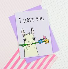 Cute Valentine's Day llama card from www.pastelelixir.co.uk Llama stationery Valentine's Day crafts
