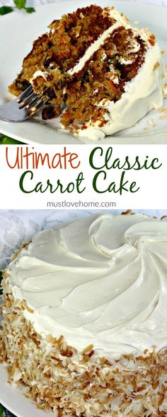 Loaded with carrots, pineapple,coconut,raisins and walnuts this ultimate Classic Carrot Cake Recipe is truly decadent. Finished with a thick layer of cream cheese frosting and toasted coconut makes this cake worthy of any special occasion. Just Desserts, Delicious Desserts, Dessert Recipes, Yummy Food, Healthy Dinner Recipes, Vegan Meals, Vegan Desserts, Vegan Recipes, Cooking Recipes