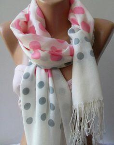 Designer Inspired Pink//Grey style Cashmere Scraf// Pasmina With Glittering