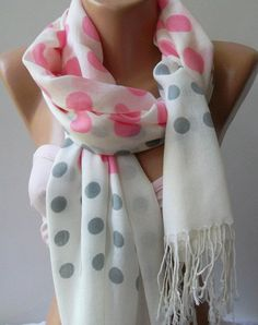 Pink  Grey  White /Shawl / Scarf  Headband   Pareos / $17.90