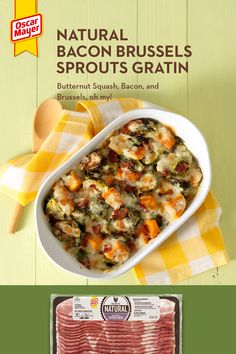 Check out this Bacon Brussels Sprouts Gratin! It's a salty, cheesy, veggie pan from heaven that will have your whole family asking for secon… [Vi Side Dish Recipes, Vegetable Recipes, Dinner Recipes, Great Recipes, Favorite Recipes, Good Food, Yummy Food, Cooking Recipes, Healthy Recipes