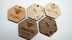 50 1.5 x 1.5 Honey Tags Custom Wedding Tags Wood by GrainDEEP