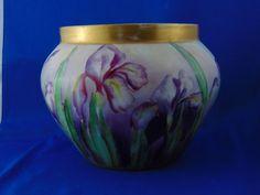 Tressemann & Vogt (T&V) Limoges Arts & Crafts Iris Design Jardinière/Vase (c.1892-1907)