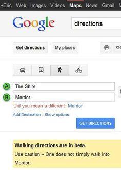Google Maps to Mordor.