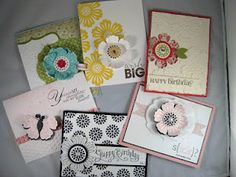 Great variety of cards all from one punch and stamp set.  Mixed bunch stamp set and Blossom punch.