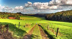 Wandelen door de schitterende natuur over de glooiende fiets- en wandelpaden.