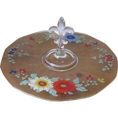Vintage Hand Painted Fleur de Lis Handled Glass Serving Tray at whimsicalvintage.rubylane.com