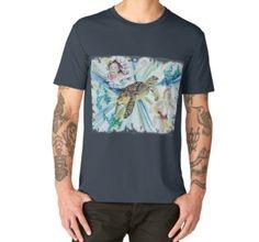 'Mermaid Turtle' by jurast V Neck T Shirt, Chiffon Tops, Turtle, Classic T Shirts, Mermaid, Hoodies, Mens Tops, Stuff To Buy, Art
