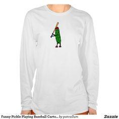 Funny Pickle Playing Baseball Cartoon Shirt