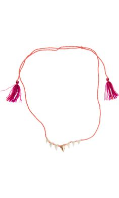 Dezso by Sara Beltran Gold & White Shark's Tooth Mexican Tassel Necklace