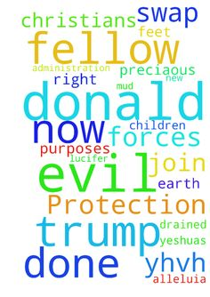 Fellow Christians please join me in a prayer of Protection - Fellow Christians please join me in a prayer of Protection of Donald Trump. Father YHVH there are many evil forces at work now upon this earth who wish ill will upon Donald Trump and his new administration. Father protect him for your purposes to drain the swap of these evil forces and the minions of the fallen one, Lucifer. LORD LORD put rocks under their feet and mud in their mouths as they attempt any evil thing upon Donald and…