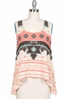 Aztec Tank- super cute with a cardie and boots for fall
