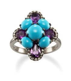 14k White Gold Turquoise and Amethyst Ring
