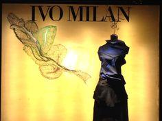 Due diverse interpretazioni del riciclo - Laura Stefani e Issey Miyake . Vetrina Boutique Ivo Milan - Padova, 28 aprile 2016