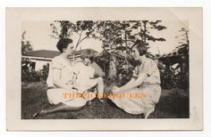 Antique Vintage Photograph~2 Women~1 Young Girl~ Sitting on the Grass~Trees~