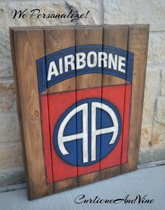 Airborne-82nd-Army-Pallet Board-Military-Soldier-Wall Art-Rustic Barnwood Decor-Man Cave-Flags-Shabby-Reclaimed Wood-Hand Painted by CurlicueAndVine on Etsy