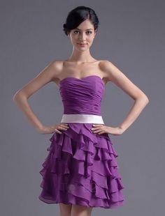 A-line Grape Chiffon Ruffles Sweetheart Short Homecoming Dress