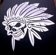 high detail airbrush stencil red indian skull FREE UK POSTAGE