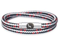 BOING Sailing & Climbing Rope Wristband Bracelet: Skinny Double Wrap BLACK RUN - Black, Red, White | Lush Labels British designed jewellery, accessories & gifts