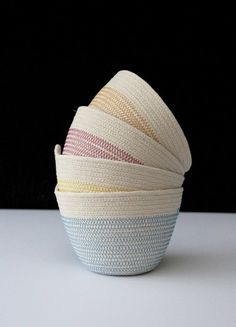 Small bowls - bright shades Toy Storage Baskets, Rope Basket, Cube, Bowls, Crafts, Shades, Bright, Sewing, Nature
