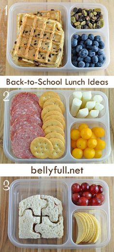 Back To School Lunch Ideas 1Plain or chocolate chip waffles with blueberries, mix of chocolate chips and pistachios 2. Salami, Ritz crackers, cheese, and cherry tomatoes – basically a homemade lunchable. 3. Puzzle sandwich, chips, and grapes – I bought the puzzle cutter on Amazon for $3. Totally fun.