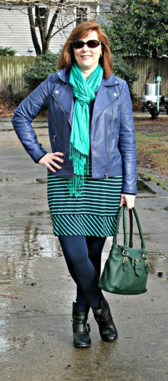 Green & Navy Striped Skirt & Navy Moto Winter Outfit,  Over 40 Fashion