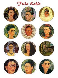 FRIDA KAHLO Paintings Craft Circles  Frida Art  by DigitalAlice