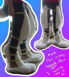 Ice's Fursuit Legs: Padding Test (Taped on) by Ice-Artz on deviantART (direwolf cosplay? Fursuit Tutorial, Furry Suit, Furry Oc, Gn, Costume Tutorial, Cosplay Armor Tutorial, Animal Costumes, Cosplay Diy, Costume Ideas