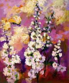 """Hollyhock & Butterflies Original Fine Art"" by Ginette Callaway, Georgia // Popular Original paintings available as fine art prints. From small to large, framed or unframed. Colorful Impasto style Oil Painting. Modern Impressionist work. Any copyright notice on the image is only for online display and NOT on the original art/print. // Imagekind.com -- Buy stunning, museum-quality fine art prints, framed prints, and canvas prints directly from independent working artists and photographers."