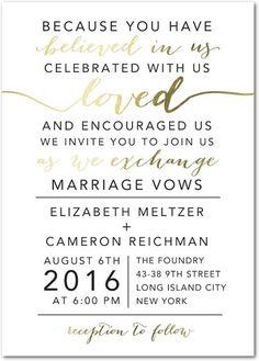 Elegant Exchange - Signature Foil Wedding Invitations - East Six Design - White : Front