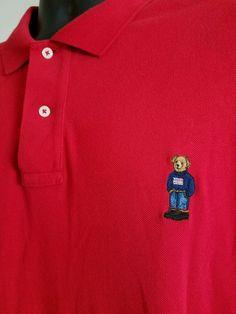 EUC Vtg XXL RED Ralph Lauren Polo Teddy Bear Steiff Sweater Flag Red Polo Shirt #RalphLauren #PoloRugby