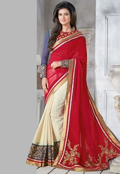 Beige and Red Faux Georgette and Super Net Jacquard Saree with blouse