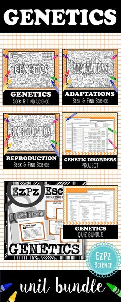 This Genetics Bundle will make a great addition to your Genetics unit. This bundle contains my popular Science Seek & Finds, Escape Room, Genetics quizzes and project for topics such as Heredity, DNA, Adaptations, Sexual/Asexual Reproduction, Punnett Squares and Genetic Disorders.