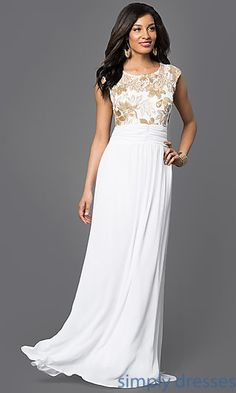 Shop sleeveless sequin lace bodice long gowns at Simply Dresses. Gorgeous prom gowns with scoop necks for proms or formal dances.