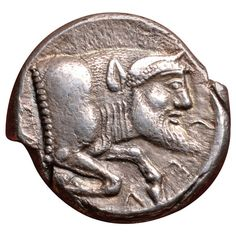 Ancient Greek Silver Tetradrachm Coin from Gela Sicily, 480 BC | From a unique collection of antique and modern historical memorabilia at https://www.1stdibs.com/furniture/more-furniture-collectibles/historical-memorabilia/
