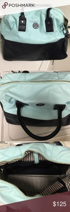 Lululemon Gym Bag Lululemon gym bag. Mint green and navy blue, perfect for gym, school, work and all three. Come with strap so it can be worn on shoulder or crossbody. lululemon athletica Bags
