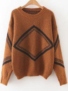 Pullover Drop Schulter Diamant-Muster-khaki