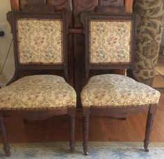Items similar to ANTIQUE 1856 pair of matching Charles Eastlake chairs with floral needlepoint fabric. on Etsy Victorian Chair, Victorian Furniture, Rustic Furniture, Antique Furniture, Victorian Interiors, Victorian Architecture, Furniture Chairs, Outdoor Furniture, Industrial Furniture