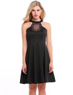 Black Lace Hollow Out Patchwork A-Line Party Dress