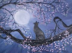 Cat staring at the moon by paintandbrushshop on Etsy, $75.00