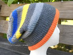 A simple striped slouch hat. The provisional cast-on creates a smooth edge that will appeal to those that want a looser fitting hat. Loom Knitting, Knitting Socks, Knitting Patterns Free, Knit Patterns, Free Knitting, Baby Knitting, Knitting Machine, Knit Beanie, Slouch Hats