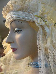 Bonnet Style Wedding Veil  Vintage 1920s by Lovalon on Etsy,
