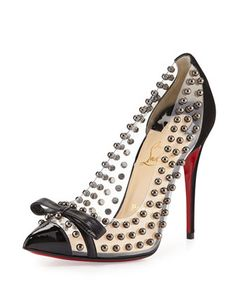 Bille Studded PVC Red Sole Pump, Black by Christian Louboutin at Neiman Marcus.