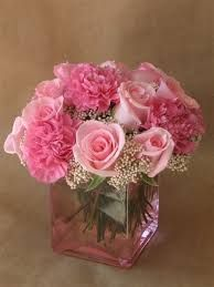 Image result for flower arrangements with cherry blossoms, roses and carnations