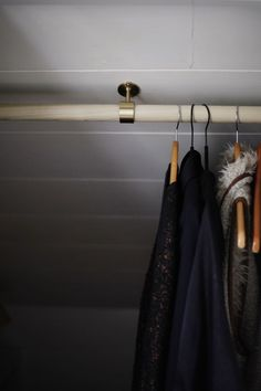 the new hanging fixtures feature custom brass hardware // coco+kelley - MooiPic Bedroom Turned Closet, Dressing Room Closet, Attic Closet, Closet Rod, Dressing Rooms, Closet Space, Loft Storage, Ceiling Storage, Attic Rooms
