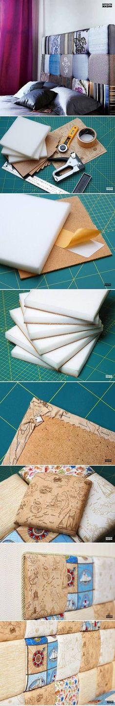 Hoy te traemos un genial DIY para que podrás hacer un cabecero de tela para tu cama, sin que tengas que gastar una fortuna. Necesitarás piezas de madera picada en cuadros, suficiente esponja para cada