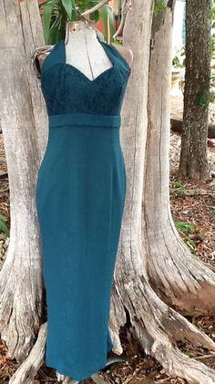 Vintage formal dress Lace Long Halter by KitschVintageClothes, $25.00