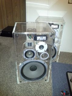 Rare dealer demo Pioneer hpm 100 acrylic see thru speakers